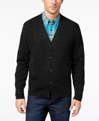 Weatherproof Vintage Men's Textured Front Button Cardigan Black