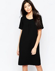 Ichi Capped Sleeve Shift Dress Black