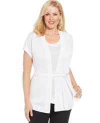 Jones New York Collection Plus Size Short Sleeve Belted Cardigan White