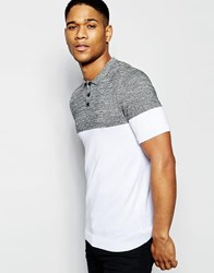 Asos Muscle Fit Knitted Polo In Colour Block Black And White Twist