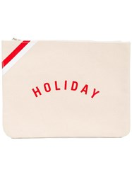 'Holiday' Logo Pouch Nude Neutrals