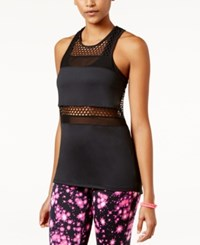 Material Girl Active Juniors' Mesh Inset Tank Top Only At Macy's Noir