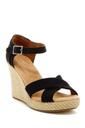 Toms Canvas Strappy Wedge Sandal Black