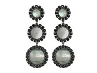 Tory Burch Deco Flower Drop Earrings Dark Mother Of Pearl Black Earring Gray