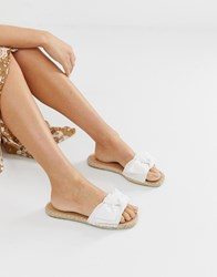 South Beach White Broderie Anglaise Square Toe Espadrille Slides