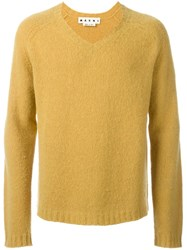 Marni V Neck Jumper Yellow And Orange