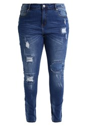 City Chic Jean Patched Up Slim Fit Jeans Darkblue Denim Dark Blue Denim