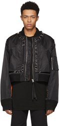 Ktz Black Stapled Metal Bomber Jacket