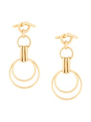 Eshvi Hula Hoops Earrings Yellow And Orange