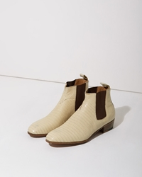 Le Yucca's Tejus Lizard Ankle Boot Ivory