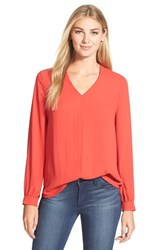 Petite Women's Pleione High Low V Neck Blouse Red Mars