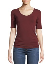 Majestic Scoop Neck Elbow Sleeve Tee Bordeaux