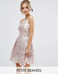 Chi Chi Petite Cutwork Detail Prom Dress With Foil Detail Pink Silver