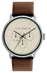 Ted Baker Men's London Multifunction Leather Strap Watch 42Mm