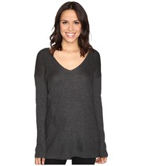 Heather V Neck Stria Sweater Black Women's Sweater