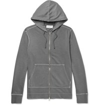 Officine Generale Loopback Cotton Jersey Zip Up Hoodie Gray
