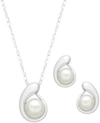 Macy's Cultured Freshwater Pearl Pendant Necklace 7Mm And Earrings 6Mm Set In Sterling Silver