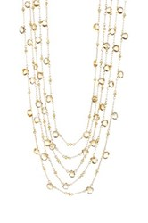 Candela 18K Yellow Gold Plated Sterling Silver Citrine Multi Strand Necklace Metallic