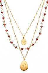 Women's Satya Jewelry Beaded Layered Necklace Red Garnet Om Nordstrom Exclusive