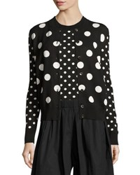 Marc Jacobs Polka Dot Crewneck Sweater Black White