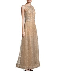 Nero By Jatin Varma Sequin A Line Gown Gold