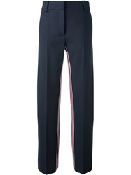 Cedric Charlier Striped High Waisted Trousers Blue