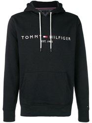Tommy Hilfiger Logo Embroidered Hoodie Black