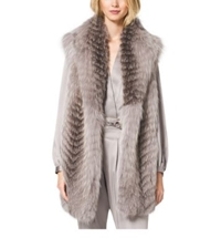 Michael Kors Fox Fur Shawl Vest Fawn