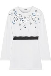 Miu Miu Embellished Cotton Jersey Top White