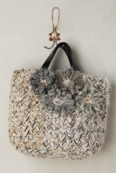 Anthropologie Peggy Sue With Flowers Tote Grey