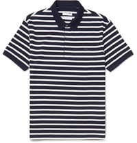 Lacoste Slim Fit Striped Cotton Pique Polo Shirt Navy