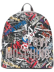 Love Moschino Graffiti Print Backpack Black