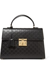 Gucci Padlock Embossed Leather Tote Black