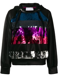 No Ka' Oi Sequinned Stripes Hoodie Black