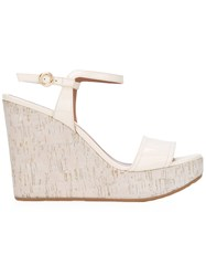 Bally Buckled Wedge Sandals White
