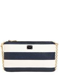 Dolce And Gabbana Striped Grained Faux Leather Clutch