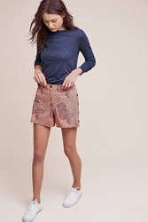 Anthropologie Buttoned High Rise Shorts Red Motif