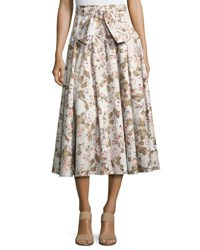Rebecca Taylor Penelope Belted Floral Button Midi Skirt Multicolor