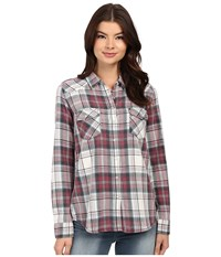 Brigitte Bailey Tania Plaid Shirt Burg Aqua Off Women's Clothing Brown