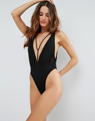 Motel Plunge Strappy Swimsuit Black