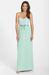 Women's Paper Crown By Lauren Conrad 'Hannah' Lace Bodice Crepe Gown Dusty Aqua