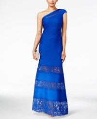 Tadashi Shoji Pintucked Lace Trim One Shoulder Gown Mystic Blue