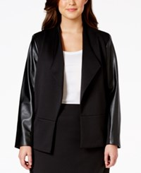 Calvin Klein Plus Size Faux Leather Sleeve Jacket