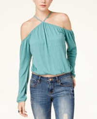 American Rag Juniors' Cold Shoulder Crop Top Created For Macy's Turquoise