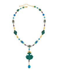 Jose And Maria Barrera Mixed Bead Pendant Necklace Blue