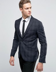 Selected Homme Slim Blazer In Check Navy