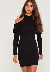Missguided Frill Cold Shoulder Long Sleeve Dress Black Black