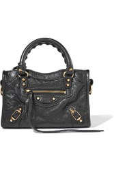 Balenciaga Classic City Nano Texured Leather Shoulder Bag Black