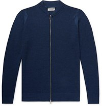 John Smedley Singular Slim Fit Honeycomb Knit Virgin Wool Zip Up Cardigan Storm Blue