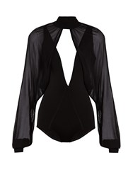 Balmain Sheer Overlay Stretch Knit Bodysuit Black